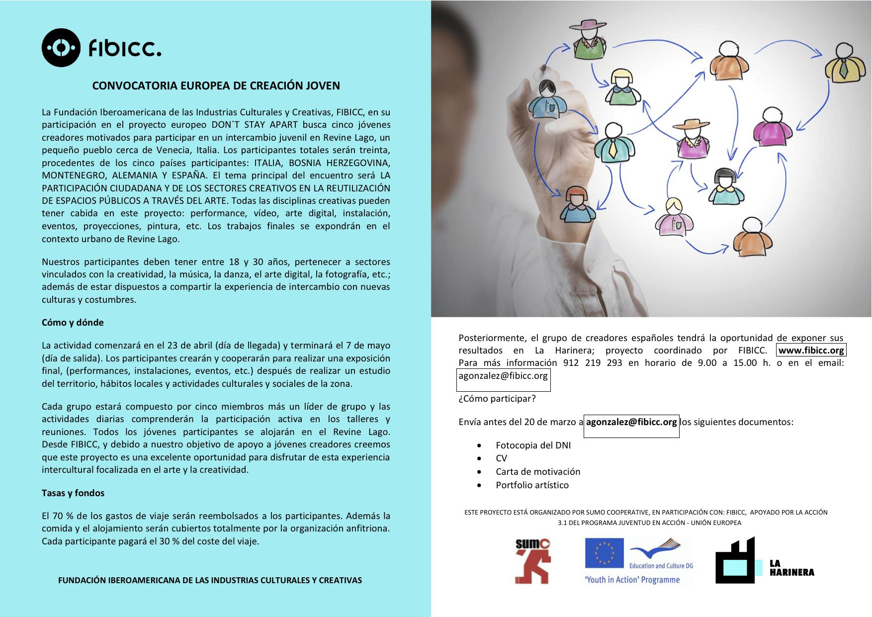 CONVOCATORIA EUROPEA CREACIÓN JOVEN - FIBICC