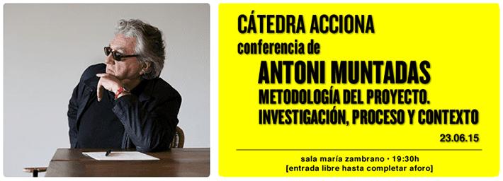 'Cátedra Acciona. Conferencia de Antoni Muntadas. Metodología del proyecto. Investigación, proceso y contexto', en el Círculo de Bellas Artes de Madrid